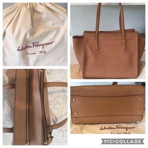 Salvatore Ferragamo Small Leather Tote Bag, Tan